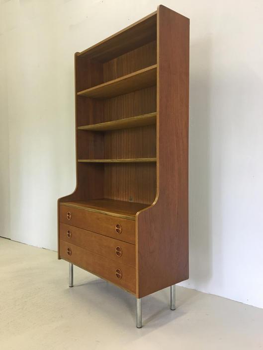 Danish Modern Teak Secretary with Shelves by retrocraftdesign