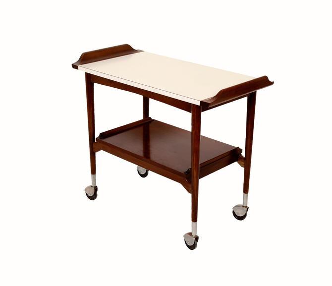 Walnut Bar Cart Rolling tea cart Mid Century Modern  50s by HearthsideHome