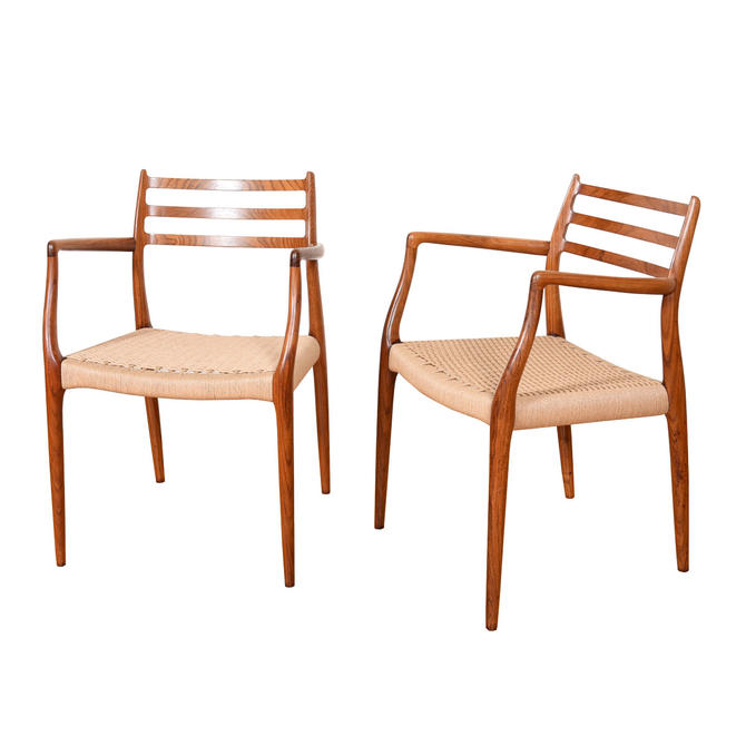 Pair, Rosewood Arm Chairs with Danish Cord Seats by Niels Moller