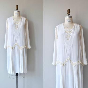 Ars Poetica silk dress   vintage 1920s dress   white silk 20s dress by DEARGOLDEN