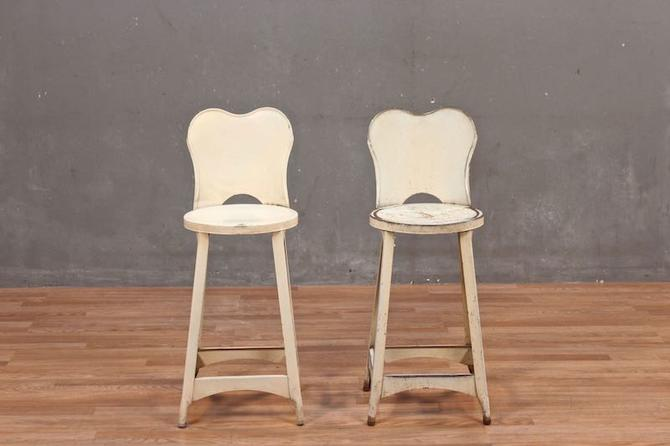 Shabby Industrial Ivory Stool – ONLINE ONLY