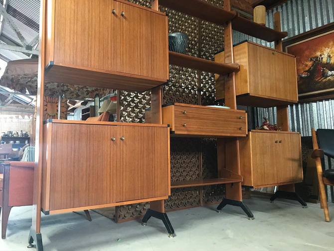 Mid Century Modern Italian Teak Wall Unit Room Divider AV Arredamenti Contemporanei.  Free Continental us Shipping by ModernFlamingo