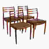 Set of 4 Danish Teak Niels Moller #78 Dining Chairs