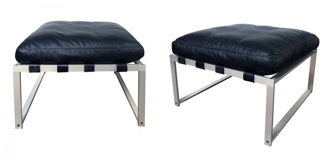 A Rare Pair of Jørgen Høj (Danish, 1925–1994)  Aluminum Stools/Benches with Black Leather Cushions