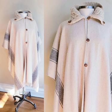 Vintage Cream Gray Striped Wool Fringed Cloak Crochet Collar / Poncho or Cape in Ivory Neutrals Soft Wool Hygge Cozy Boho Hippie / Aalis by RareJuleVintage