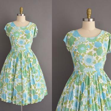 vintage 60s dress   Flair Miami Green & Blue Floral Print Full Skirt Summer Dress   Medium   1960s vintage dress by simplicityisbliss