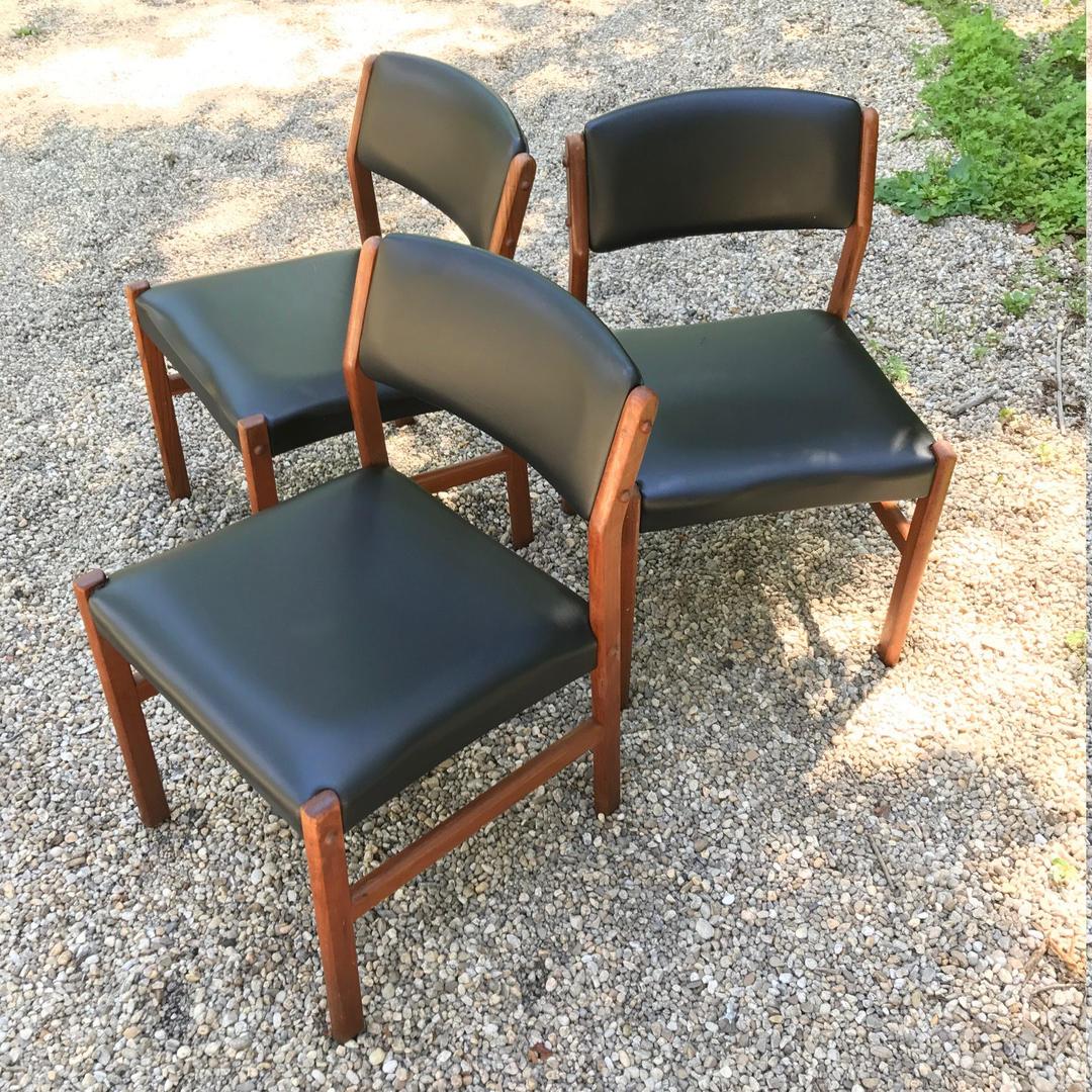 Danish Teak Dining Chairs Set Of Three Vintage Mid Century