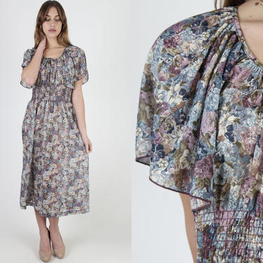 Lightweight Blue Floral Dress / Vintage 70s Sheer Smocked Waist / Gather Elastic Flutter Sleeves / Gathered Neck Tie Midi Maxi Dress by americanarchive