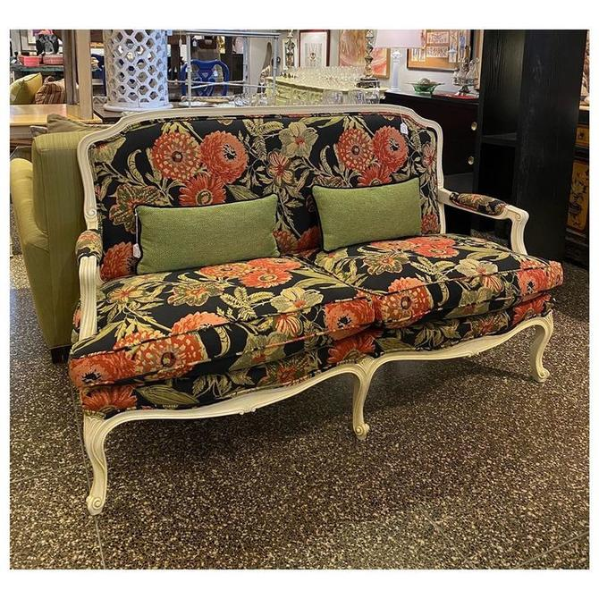 "Fabulous fancy floral loveseat 64"" long / 28"" deep / 38"" height -back / 19.5"" height -seat / 24"" height -arms"