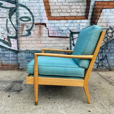 Vintage mid century modern Danish modern blonde maple lounge chair light blue cushions by symmetrymodern