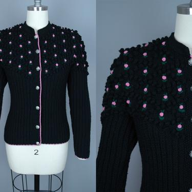 Vintage LANZ Cardigan | Vintage 70s does 40s Black Fitted Wool Sweater with Rosettes | small / medium by RelicVintageSF