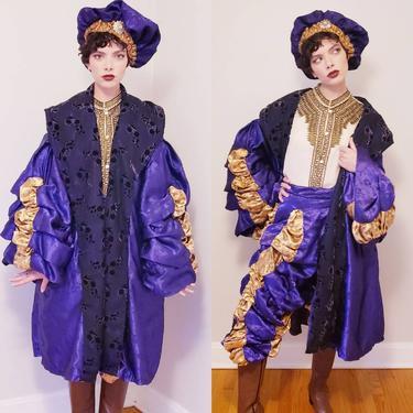 Vintage Costume Renaissance Courtier King Henry VIII Jester Fool/Purple Gold 3 Piece Suit Historical Royal Tudor Court Coat Breeches Cap XXL by RareJuleVintage