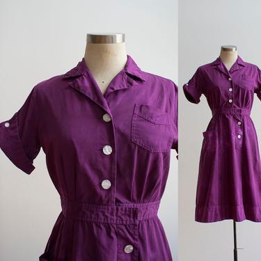 1960s Uniform Dress / Hand Dyed Purple Dress / Purple Shift Dress / Purple Cotton Day Dress / Cotton Shirt Dress / Purple Shirt Dress Small by milkandice