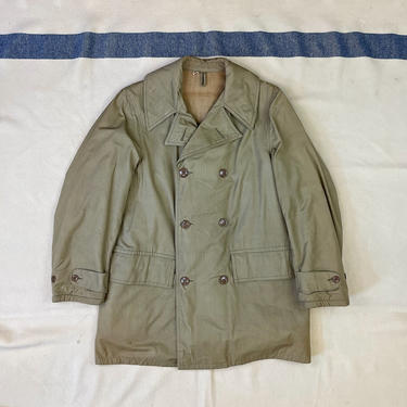 Size 38 (M) Vintage 1940s WW2 US Army Cotton Olive Drab Mackinaw Coat by BriarVintage