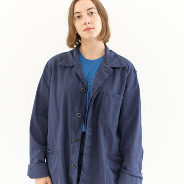 Vintage Blue Chore Coat   Unisex Cotton Military Utility Work Jacket   Made in Italy   M L   IT094 by RAWSONSTUDIO