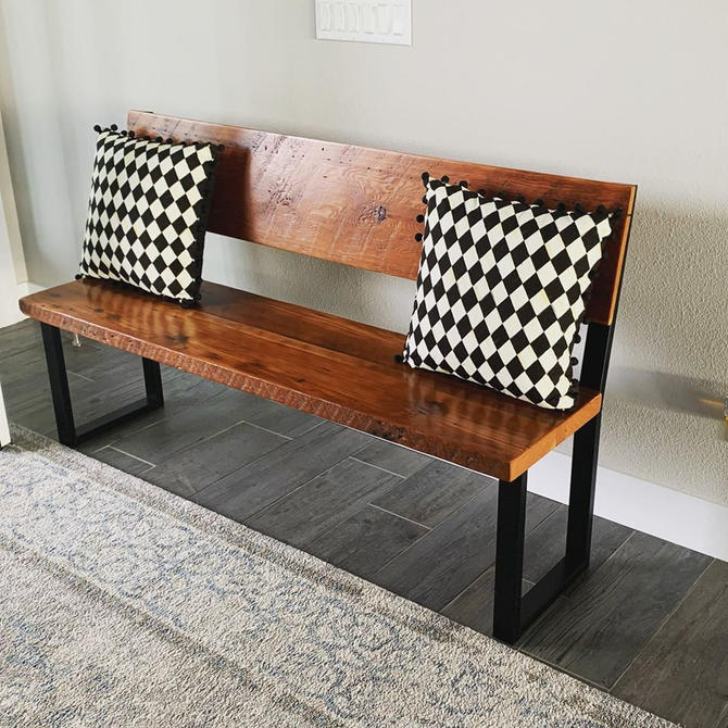 Bench with back. Accent bench. Entry bench. Industrial bench. Reclaimed wood bench. Entryway bench. Dining bench.  Bedroom bench. by UrbanIndustrialNW