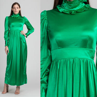 60s 70s Green Maxi Party Dress - Extra Small | Vintage Empire Waist A Line Shiny Hostess Gown by FlyingAppleVintage