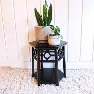 Vintage Wood Hexagon Side Table by PortlandRevibe