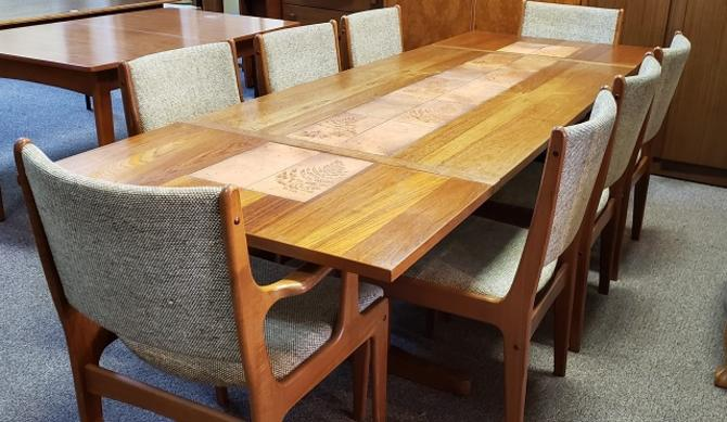 Item #T25b Danish Teak & Ceramic Tile Table w/ 8 Chairs c.1960