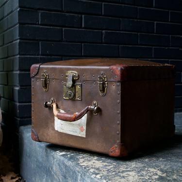 1930s Train Case Suitcase Luggage Square Vulcanized Fiber Vintage Mid-Century Relic Antique Box Storage Shelf Prop by BrainWashington