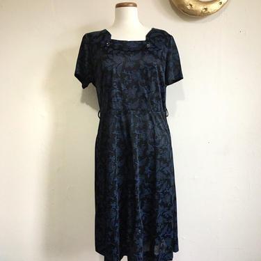 Vintage Matilda Dress | 50s Mid Century Blue Floral Dress by blindcatvintage