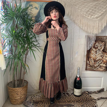 70's MAXI DRESS - plaid and corduroy - empire waist - x-small by GlamItToHell