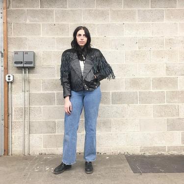 Vintage Jacket Retro 1980s Genuine Leather + Breathe Fashions + Black + Western Wear + Conchos + Cropped + Snap Front + Womens Apparel by RetrospectVintage215