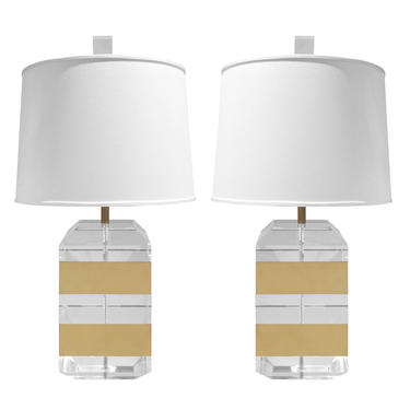 Pair of Table Lamps with Solid Lucite Blocks and Brass Banding 1970s