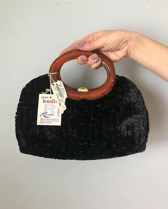 vintage 60s KADIN black burnout handbag   velvety purse with tortoise handle by LosGitanosVintage