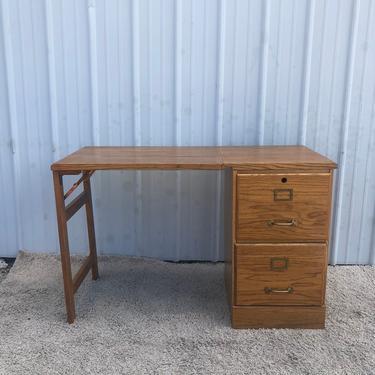 Vintage Oak Folding Writing Desk with File Cabinet