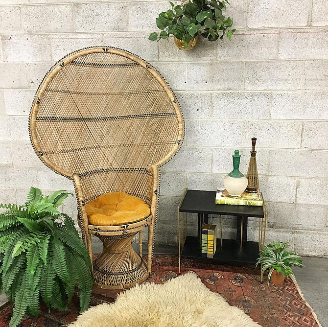 LOCAL PICKUP ONLY Vintage Peacock Chair Retro 1970's Bohemian Wicker High Backed Tan and Black Woven Chair with Yellow Corduroy Cushion by RetrospectVintage215