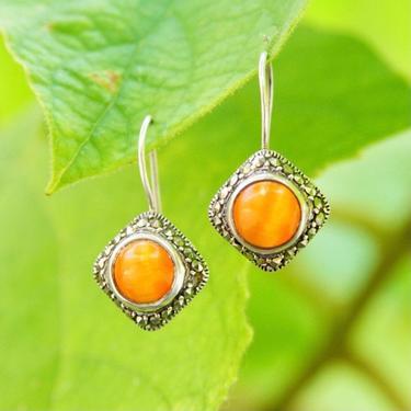 "Vintage Sterling Silver Carnelian & Marcasite Drop Earrings, Iridescent Orange Gemstone, Marcasite Encrusted Setting, Latch Hooks, 1 1/8"" L by shopGoodsVintage"