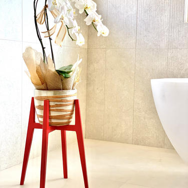 Red Indoor Plant Stand Mid Century by FifteenDegree