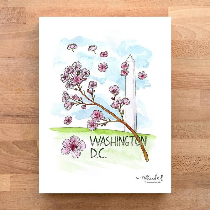 Washington, D.C. Monument and Cherry Blossoms Watercolor Art Print