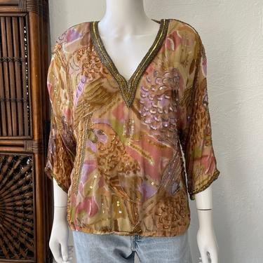 Vtg 70s Judith Ann Creations silk tropical bird sequined top SM by AnimalVintageMiami