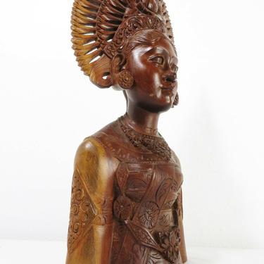 Vtg CARVED TEAK WOOD GODDESS PRINCESS ART BUST Sculpture Head BALI ASIAN Buddha