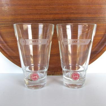 Set Of 2 Jameson Red Label Glasses, John Jameson And Son Irish Whiskey Tumbler Set, Vintage Highball Barware by HerVintageCrush