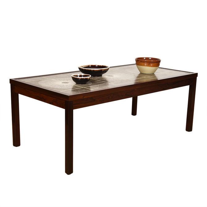 Scandinavian Modern Rosewood Tile Top Coffee Table