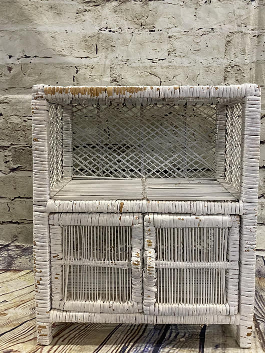 SHIPPING NOT FREE!!! Vintage Wicker Nightstand/ Need some tlc!!!! by WorldofWicker