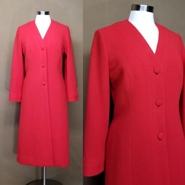 Vintage 80s Red Wool Dress Coat ~ Collarless Overcoat ~ Princess Seamed ~ Embroidered Silk Lining ~ Heavy Warm Long Womens Coat ~ M by SoughtClothier