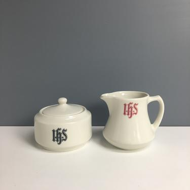 Syracuse China IHS monogrammed cream and sugar - 1960s restaurant ware by NextStageVintage