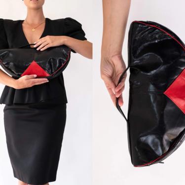 Vintage 80s Donna Altman Shiny Black & Red Triangle Leather Half Dome Clutch   Avant Garde, Streetwear, Boho Chic   1980s Designer Handbag by TheVault1969