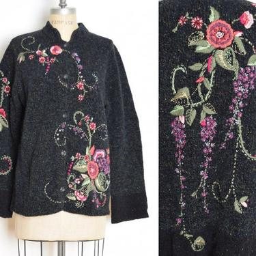 vintage 90s cardigan sweater gray wool cotton wisteria floral jumper top shirt L by huncamuncavintage