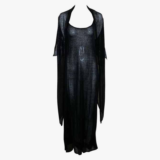 Krizia 90s Black Lightweight Knit Tank Maxi Dress with Matching Jacket