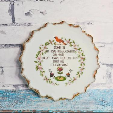 """Vintage Fun Saying """"Come In Sit Down Relax Converse Our House Doesn't Always Look Like This Sometimes It's Worse"""" Plate Housewarming Present by BellsAndWhistlesEtc"""