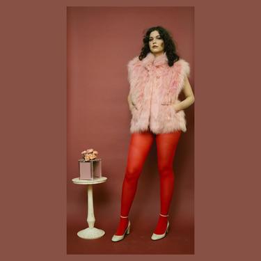 vintage rose pink fox fur vest by FlowerInTheMirror