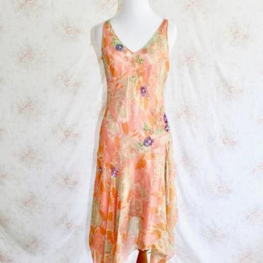 Vintage 90s Silk Dress, 1990s Fairy Dress, Garden Party Dress, Floral Dress, Sheer, Asymmetrical, Beaded, 90s does 20s, Y2K, Pastel by WildwoodVintage