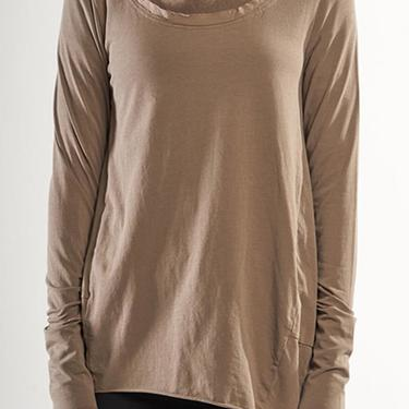 Asymmetric Mesh Edged Long Sleeve T-Shirt in TAUPE Only