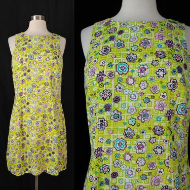 Vintage 2000 Y2K Small Sleeveless Floral Print Sleeveless Mod Mini Sheath Dress - 2000 Millennium Style R-Wear Rampage Dress by JanetandJaneVintage