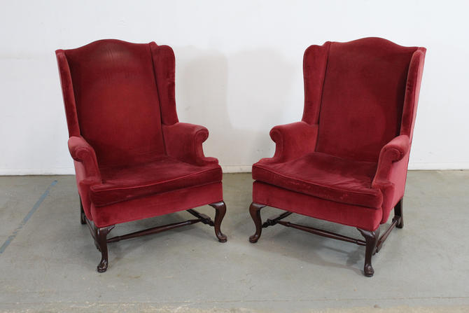 Pair of Queen Anne Fireside Wingback Chairs by Hickory Chair Co by AnnexMarketplace